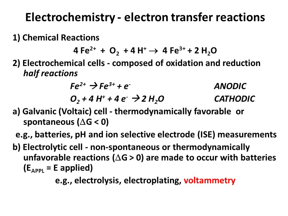 Electrochemistry - electron transfer reactions