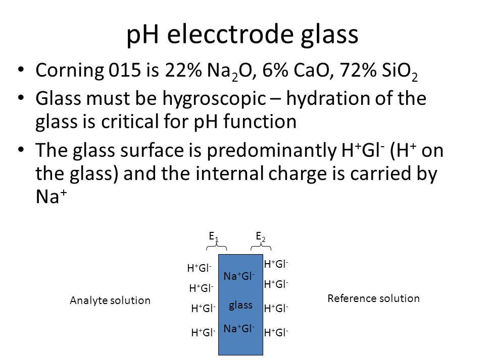 pH elecctrode glass Corning 015 is 22% Na2O, 6% CaO, 72% SiO2