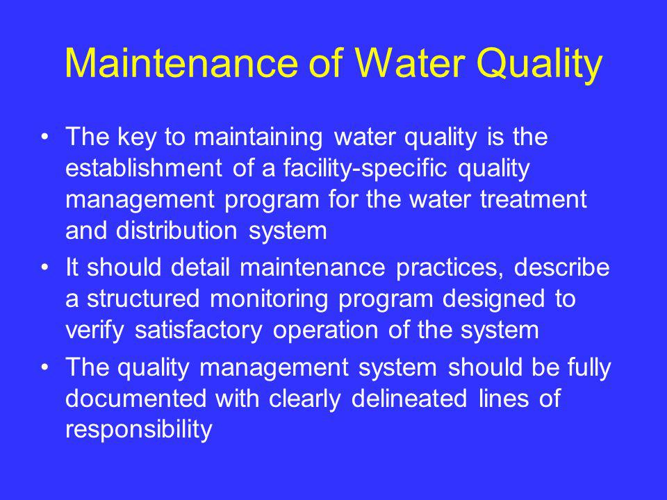 Maintenance of Water Quality