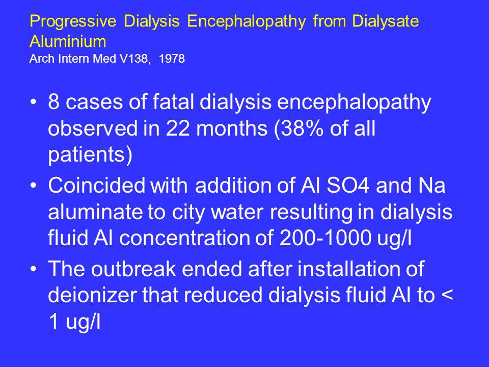Progressive Dialysis Encephalopathy from Dialysate Aluminium Arch Intern Med V138, 1978