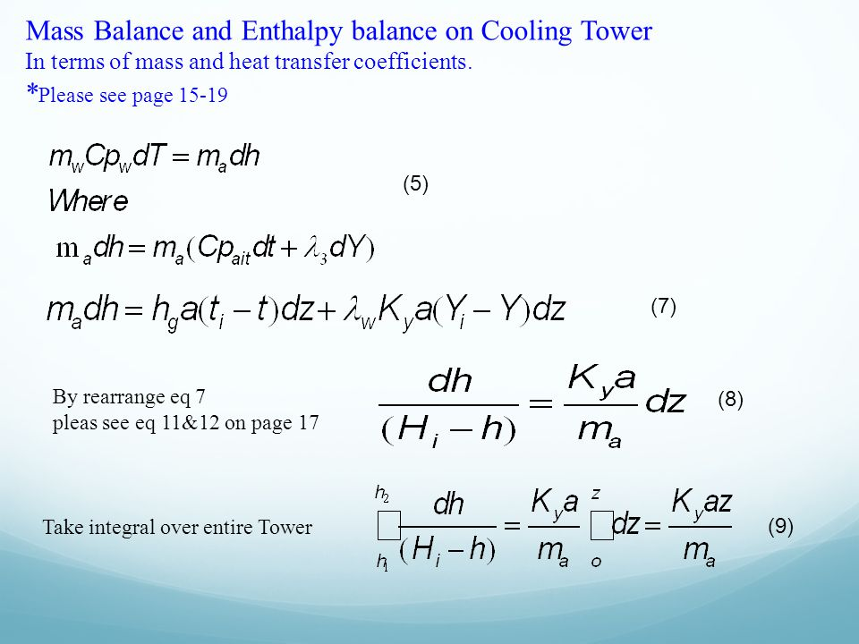 Mass Balance and Enthalpy balance on Cooling Tower