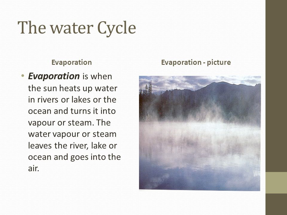 The water Cycle Evaporation. Evaporation - picture.