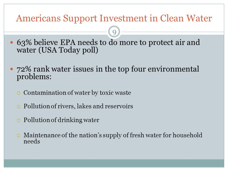 Americans Support Investment in Clean Water