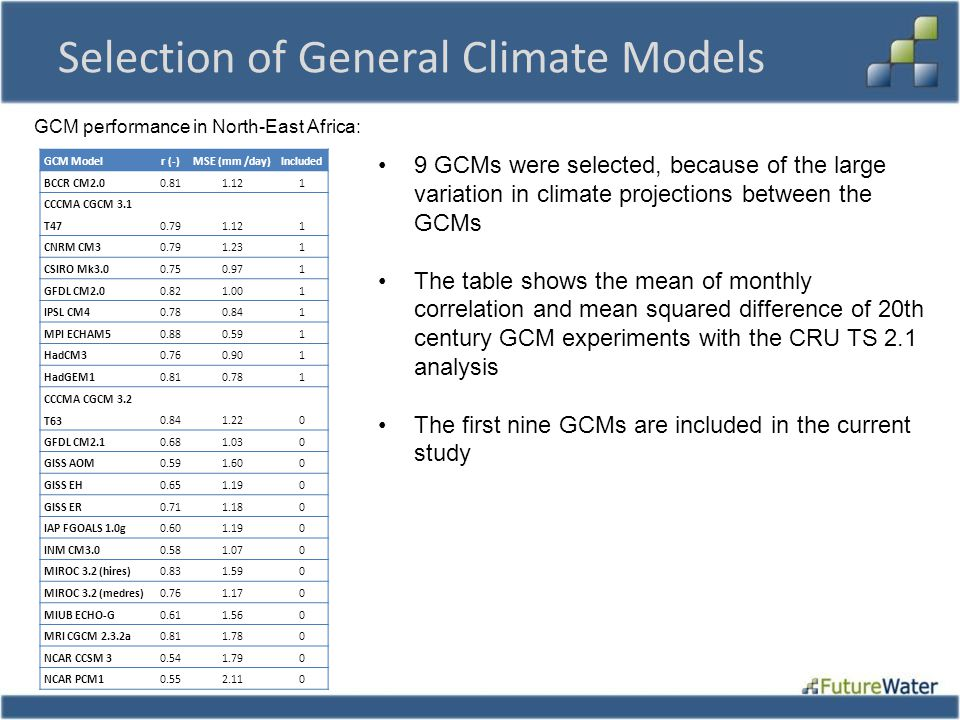 Selection of General Climate Models
