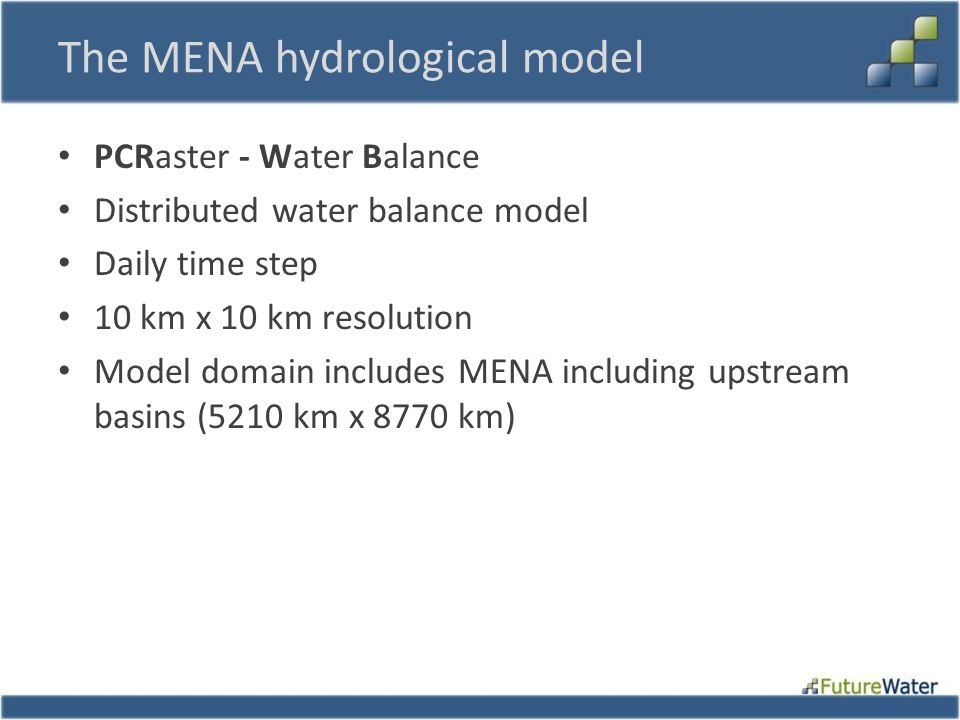 The MENA hydrological model