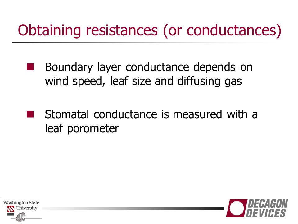 Obtaining resistances (or conductances)