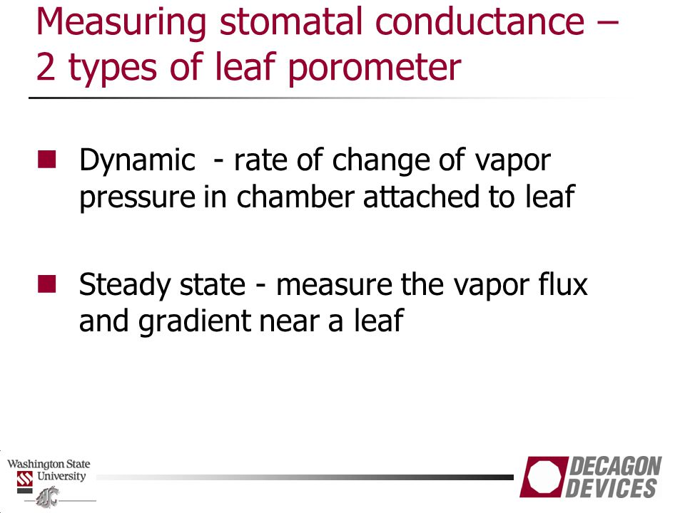 Measuring stomatal conductance – 2 types of leaf porometer