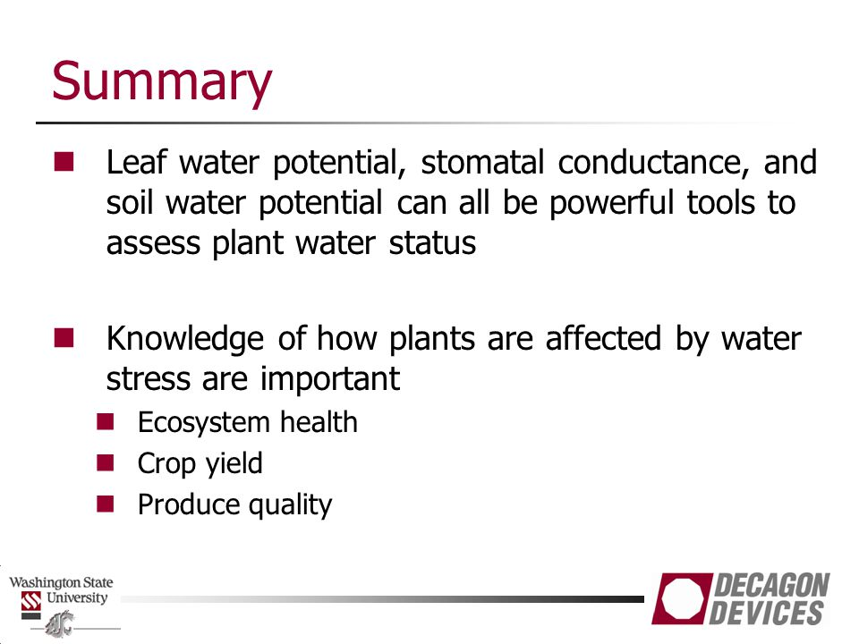 Summary Leaf water potential, stomatal conductance, and soil water potential can all be powerful tools to assess plant water status.
