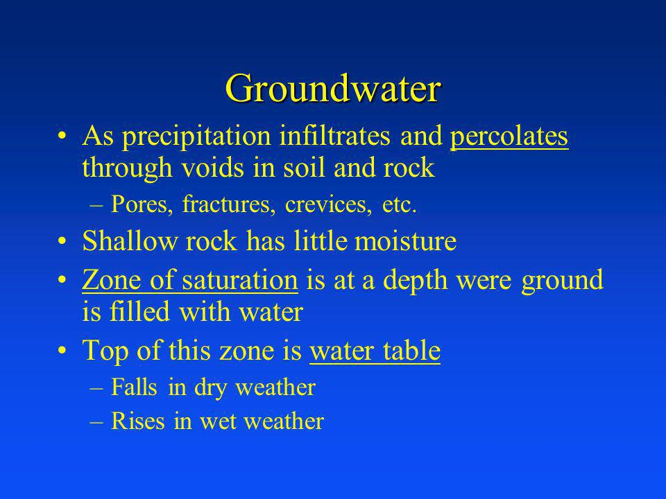 Groundwater As precipitation infiltrates and percolates through voids in soil and rock. Pores, fractures, crevices, etc.