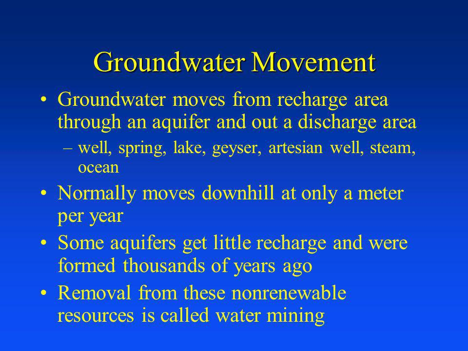 Groundwater Movement Groundwater moves from recharge area through an aquifer and out a discharge area.