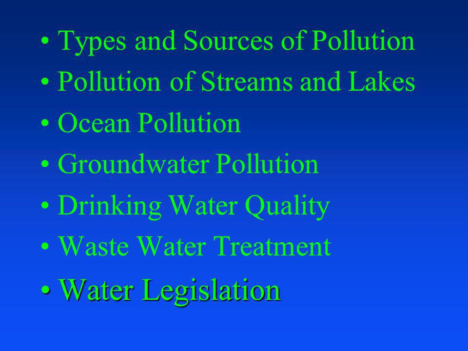 Water Legislation Types and Sources of Pollution