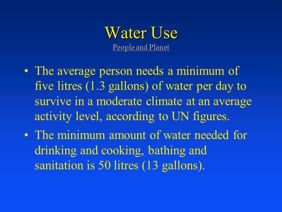 Water Use People and Planet