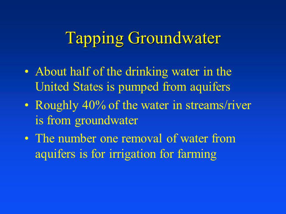 Tapping Groundwater About half of the drinking water in the United States is pumped from aquifers.