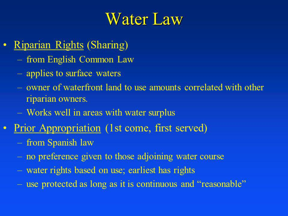 Water Law Riparian Rights (Sharing)
