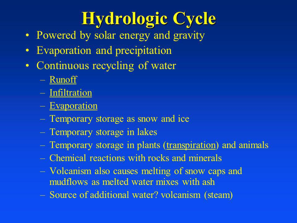 Hydrologic Cycle Powered by solar energy and gravity