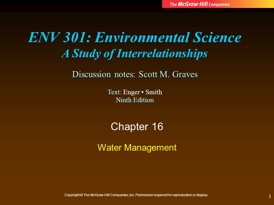 ENV 301: Environmental Science A Study of Interrelationships