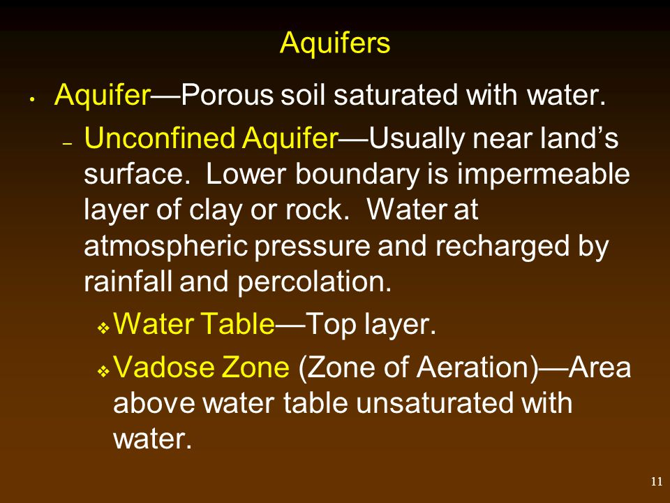 Aquifers Aquifer—Porous soil saturated with water.