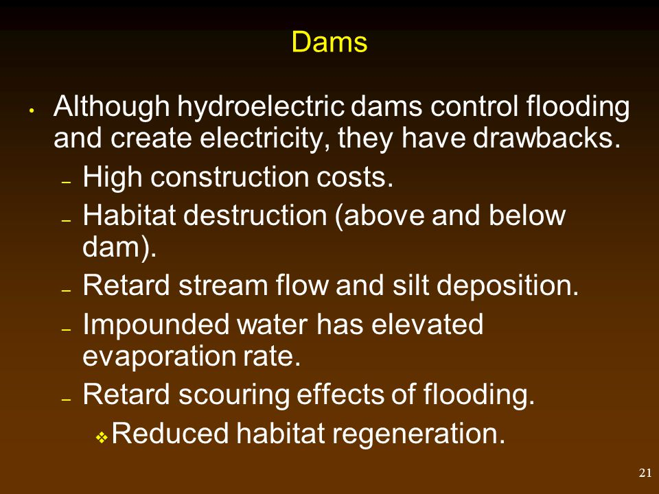 Dams Although hydroelectric dams control flooding and create electricity, they have drawbacks. High construction costs.