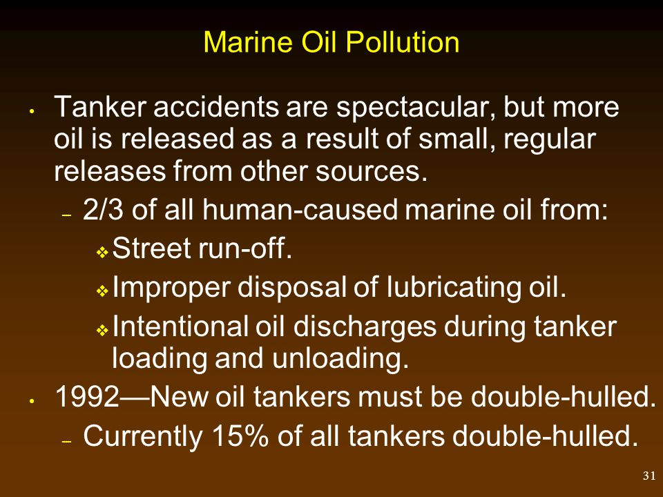 Marine Oil Pollution Tanker accidents are spectacular, but more oil is released as a result of small, regular releases from other sources.