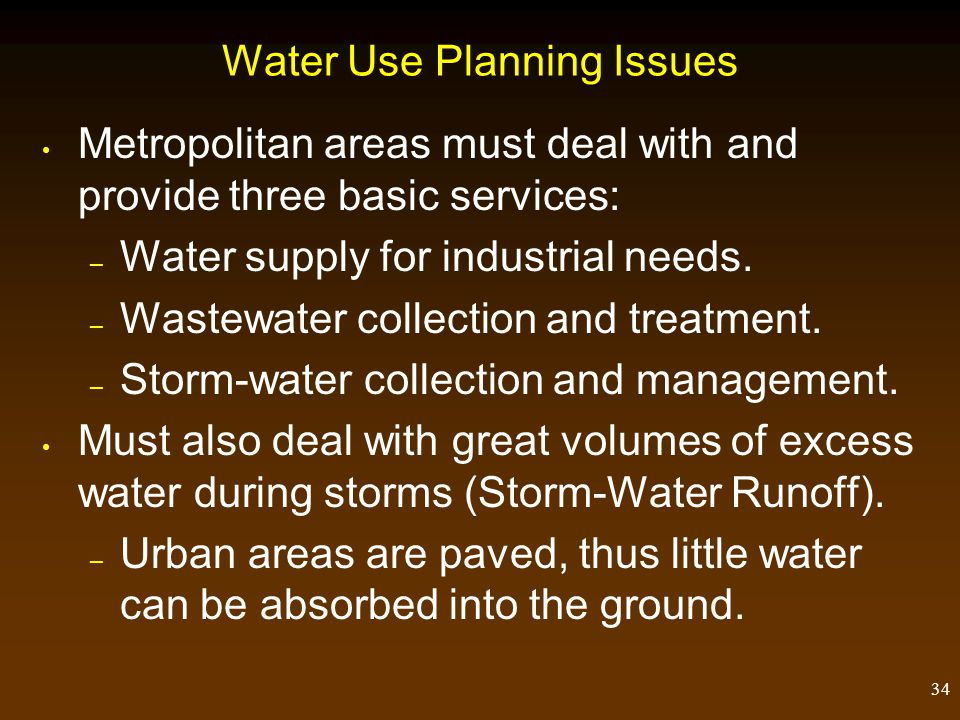 Water Use Planning Issues