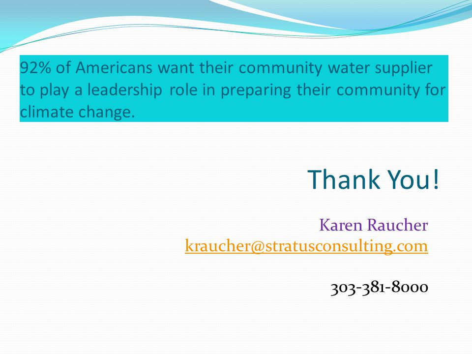 92% of Americans want their community water supplier to play a leadership role in preparing their community for climate change.