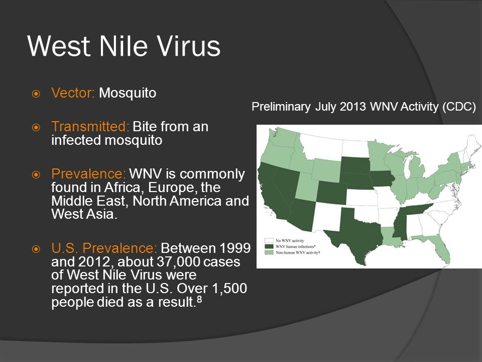 Preliminary July 2013 WNV Activity (CDC)