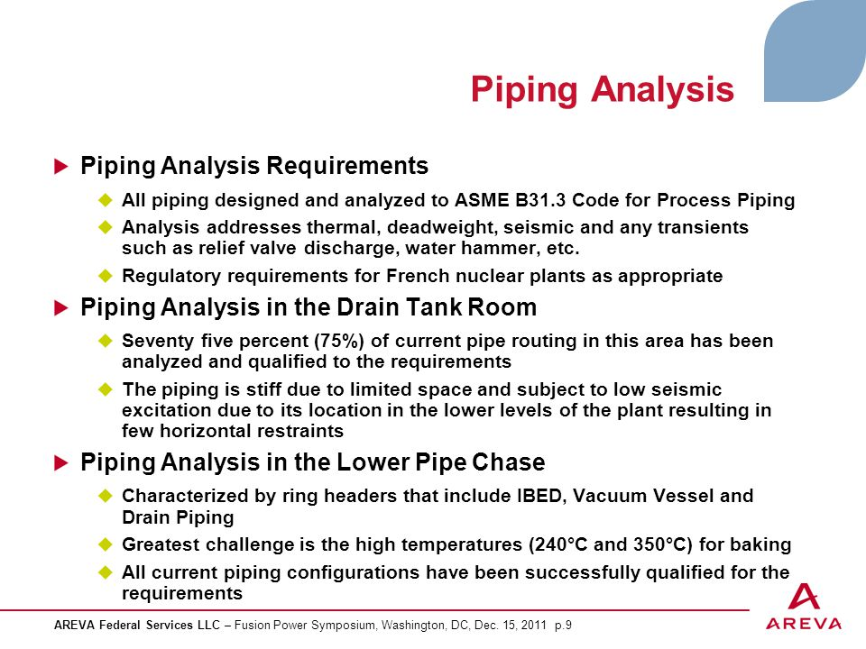 Piping Analysis Piping Analysis Requirements