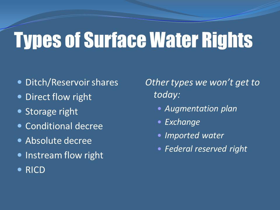 Types of Surface Water Rights