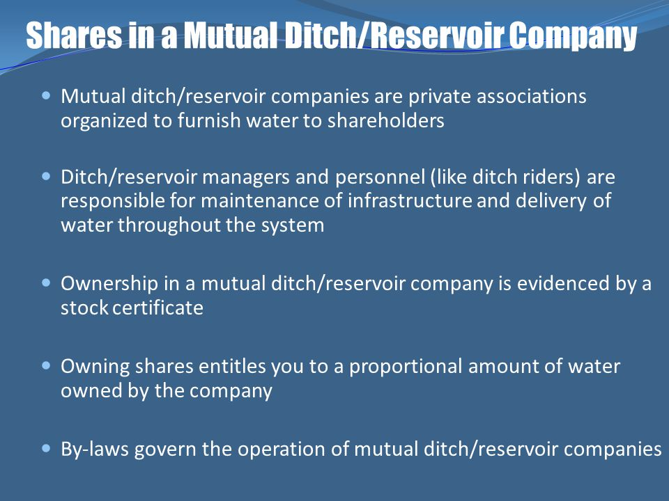 Shares in a Mutual Ditch/Reservoir Company