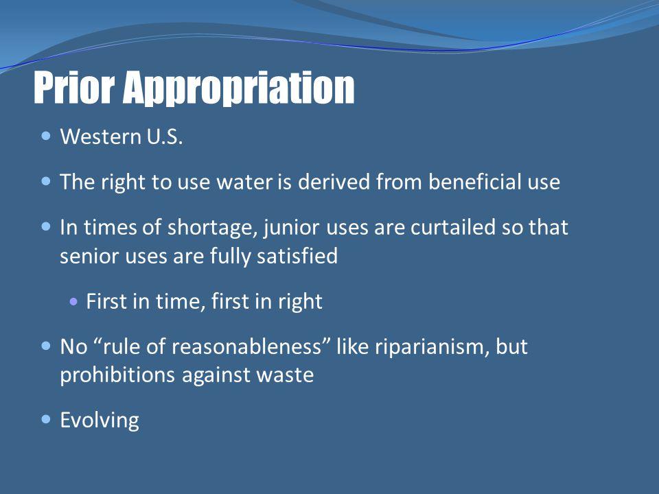 Prior Appropriation Western U.S.