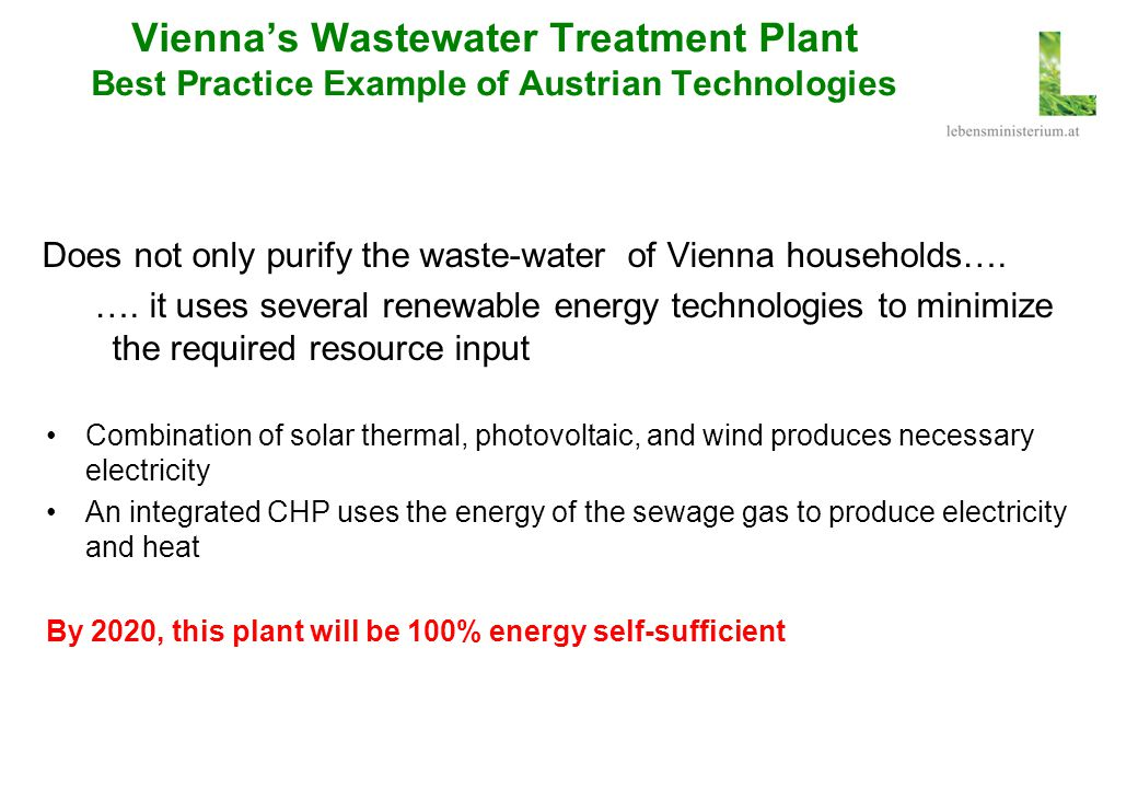 Vienna's Wastewater Treatment Plant Best Practice Example of Austrian Technologies