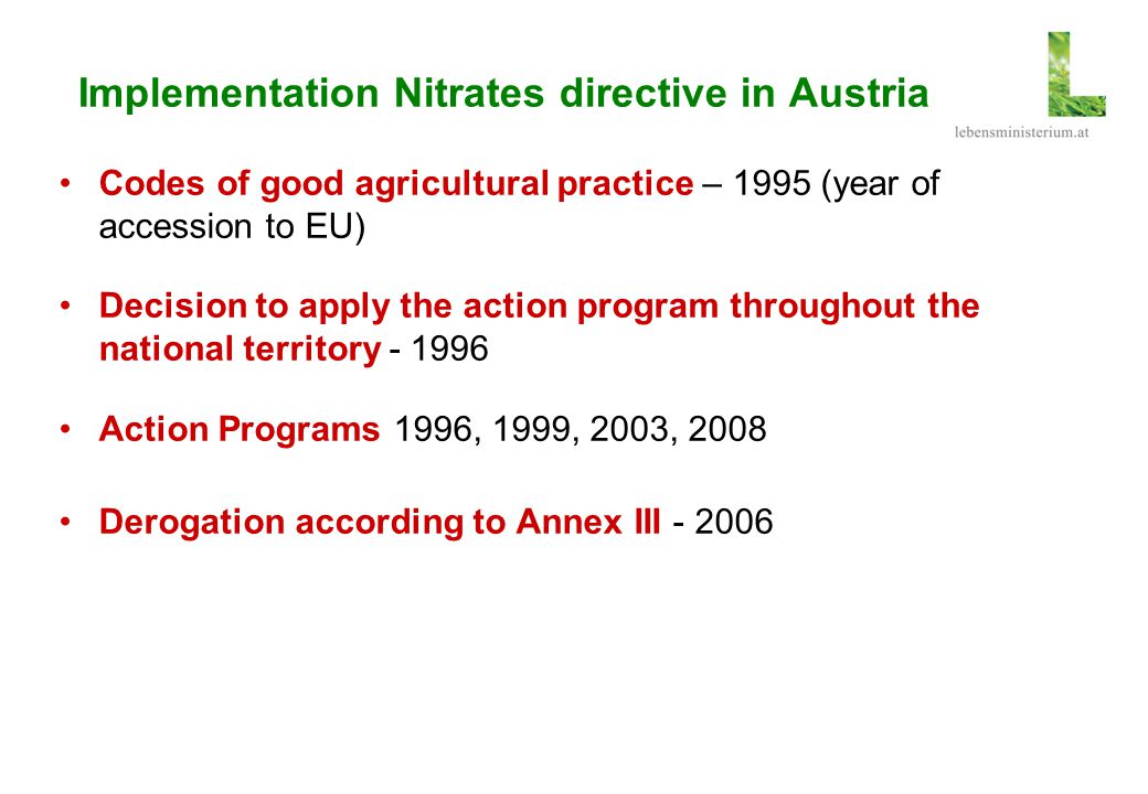 Implementation Nitrates directive in Austria