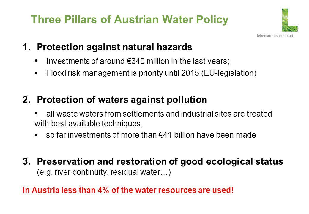 Three Pillars of Austrian Water Policy
