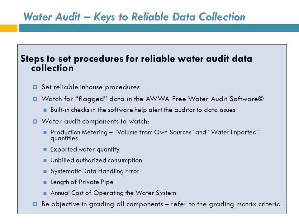 Water Audit – Keys to Reliable Data Collection