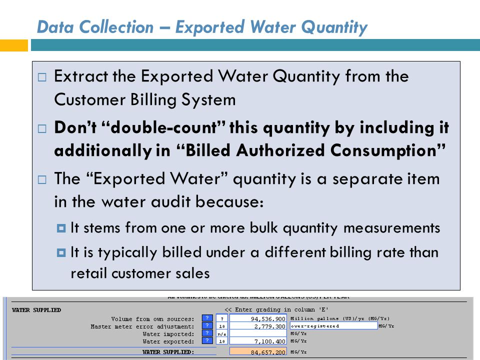 Data Collection – Exported Water Quantity