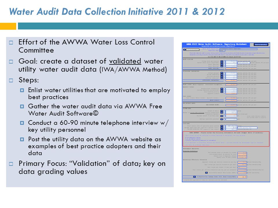 Water Audit Data Collection Initiative 2011 & 2012