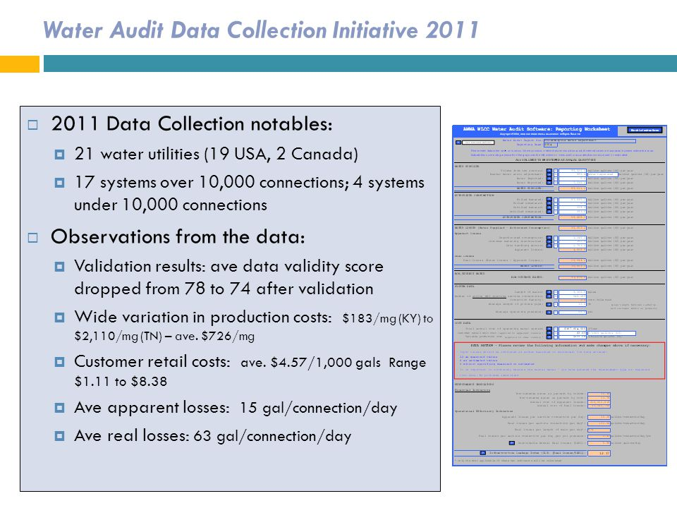 Water Audit Data Collection Initiative 2011