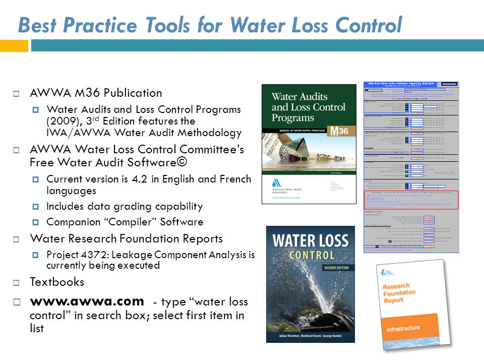 Best Practice Tools for Water Loss Control