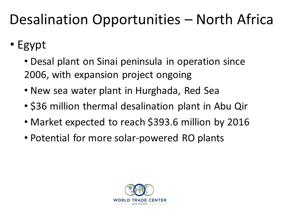Desalination Opportunities – North Africa