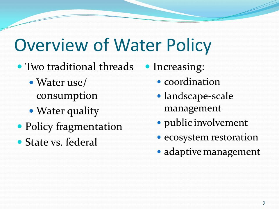 Overview of Water Policy