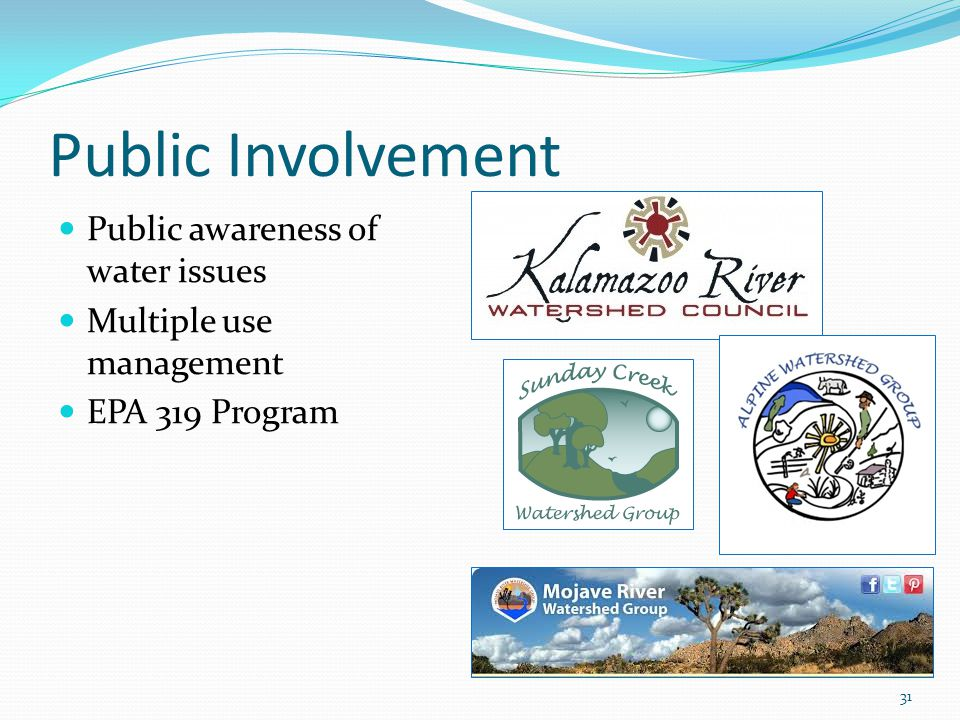 Public Involvement Public awareness of water issues