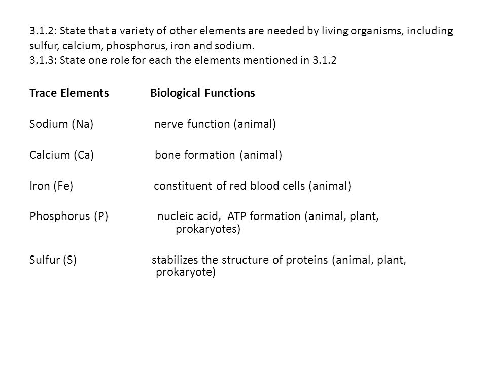 Trace Elements Biological Functions