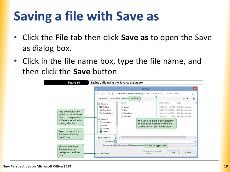 Saving a file with Save as