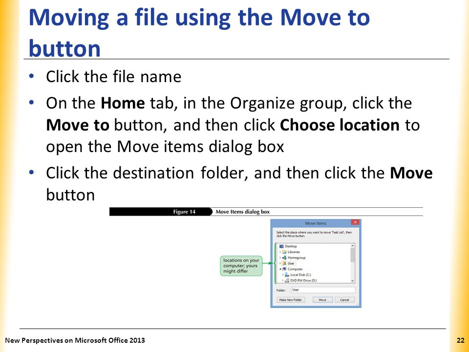 Moving a file using the Move to button