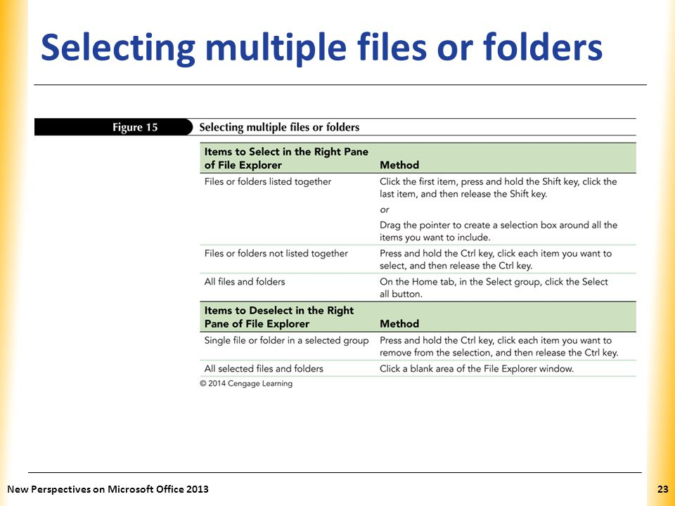 Selecting multiple files or folders