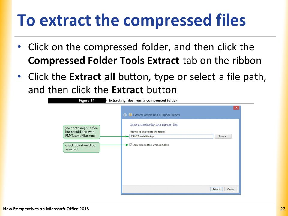 To extract the compressed files