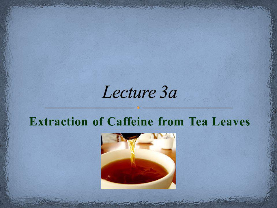 extraction of caffeine from tea Thus, we can carry-out the isolation of caffeine from tea leaves in the following steps: 1 extract the caffeine and tannins into hot water 2.
