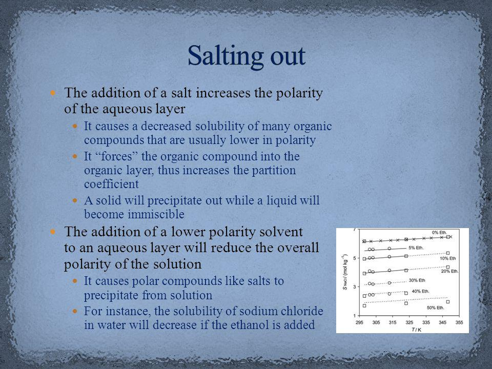 Salting out The addition of a salt increases the polarity of the aqueous layer.