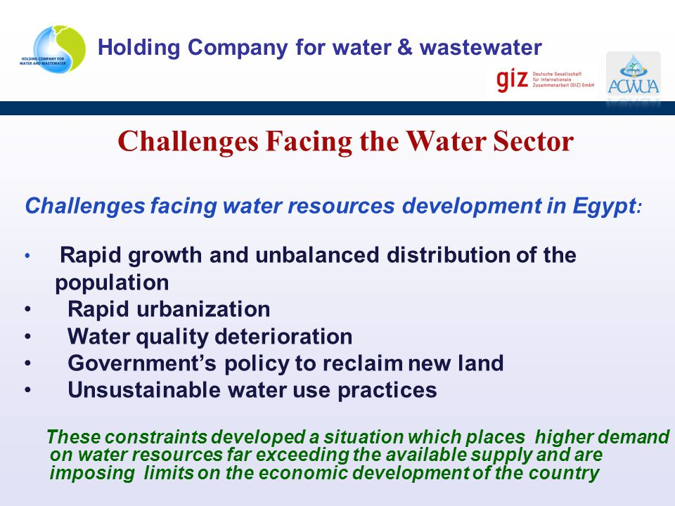 Challenges Facing the Water Sector