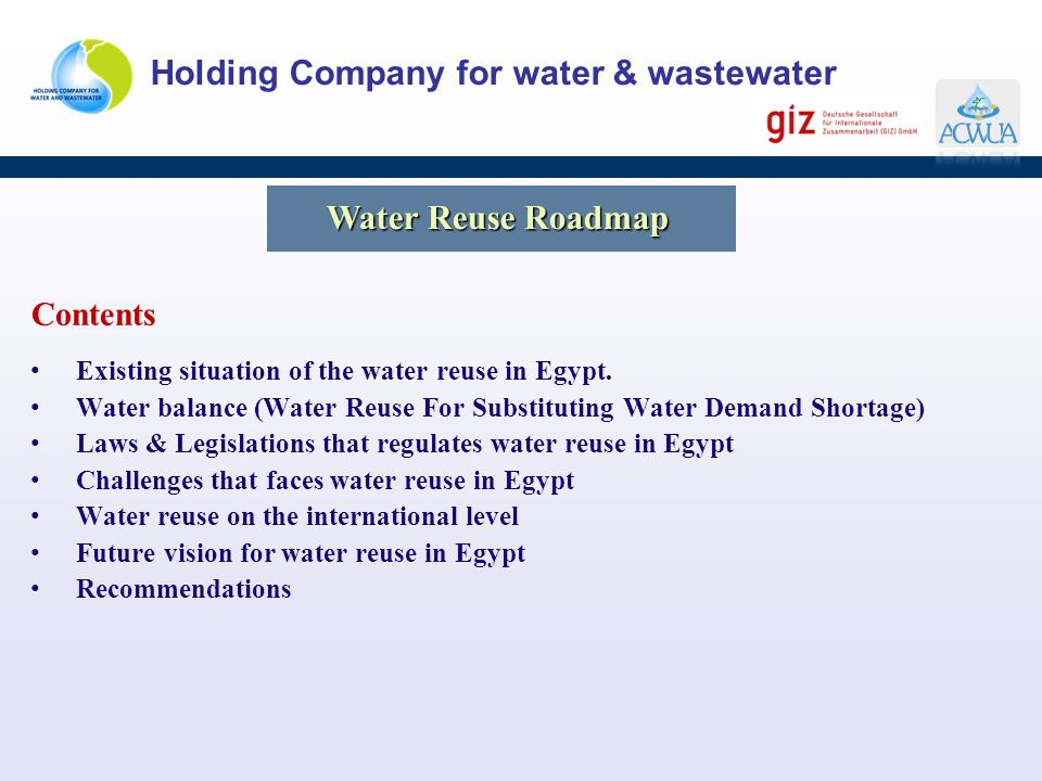 Water Reuse Roadmap Contents